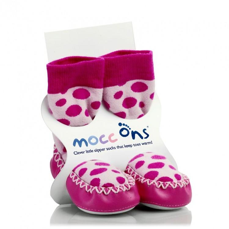 KIKKO Mocc Ons mokasínové ponožky růžové Puntíky 18-24 měs ... 23ac4f7781f